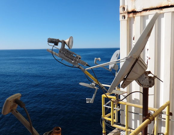 The VSAT used for sending data from the Harvest oil platform to Boulder, Colorado. Photo by Andrea Prantner.