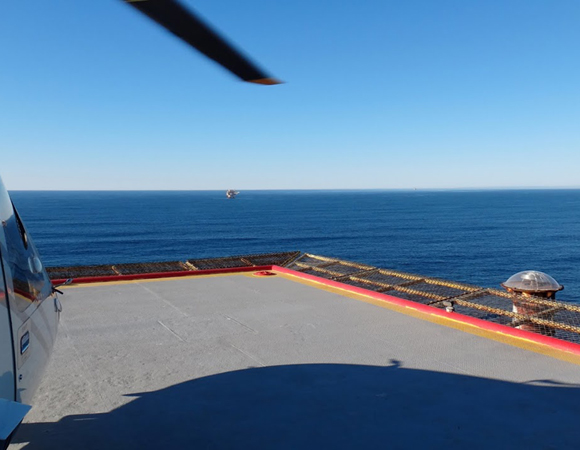 The ride back to the mainland from the Harvest oil platform. Note the GPS antenna under its protective radome to the right. Photo by Andrea Prantner.