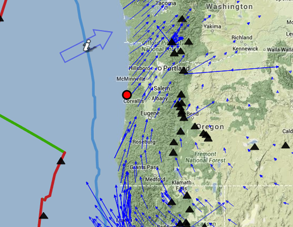 Hatfield Marine Science Center Visitor Center in Newport, Oregon (red circle) with site velocities (blue arrows) as measured by Plate Boundary Observatory continuous GPS stations. To make your own map, visit the UNAVCO Velocity Viewer at http://www.unavco.org/software/visualization/GPSVelocityViewer/GPSVelocityViewer.html