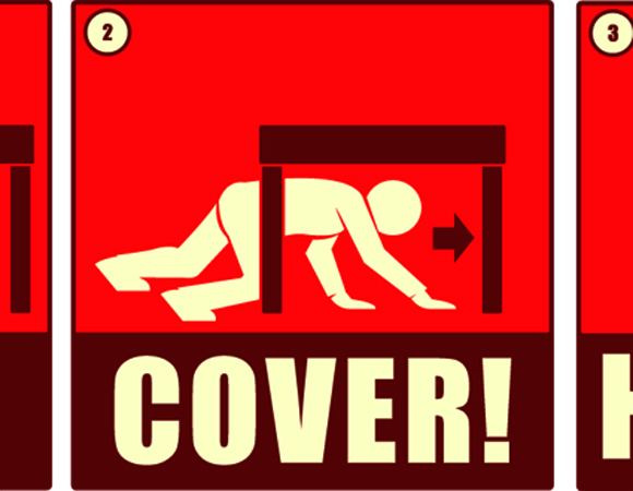 Drawing of the steps to take during an earthquake: Drop, Cover, and Hold On. (Source: Southern California Earthquake Center)