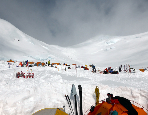 The camp at 11,000 feet on Denali\'s West Buttress route where the field team acclimatized for field work at 13,000 feet on Mount Hunter.  Many hundreds of climbers use this camp on their way to summit of Denali, North America\'s highest mountain at 20,237 feet.  Photo by Patrick Saylor, Dartmouth.