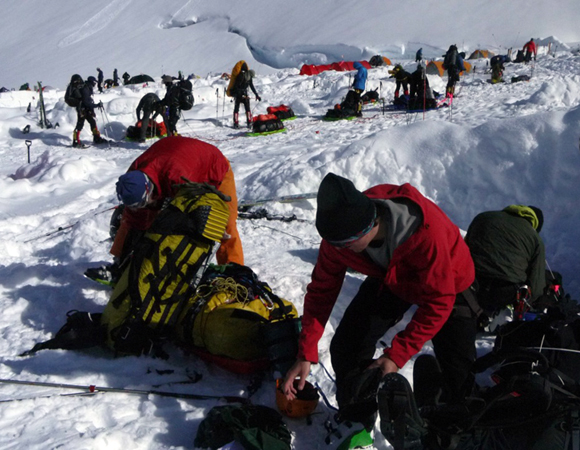 The acclimatization camp on Denali\'s West Buttress route is much busier than the five-person camp on Mount Hunter, where the science group camped on their own.  Photo by Brendan Hodge, UNAVCO.
