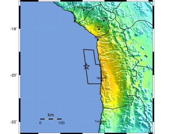 USGS ShakeMap for Mw 8.2 Iquique, Chile event of April 1, 2014. (Figure from USGS.)