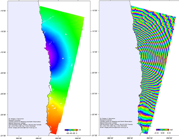 Left: The unwrapped phase displacement in the radar line-of-sight showing subsidence and westward motion (both away from the satellite) of more than 60 cm. Right: The wrapped interferogram; each fringe shows about 2.8 cm of ground motion. (Figures provided by Dr. Sergey Samsonov, Canadian Centre for Remote Sensing.)