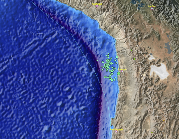 The main shock and aftershocks of the Mw 8.2 April 1, 2014 earthquake off the coast of northern Chile. (Map produced using the UNAVCO Jules Verne Voyager tool with earthquake data from the USGS National Earthquake Center.)