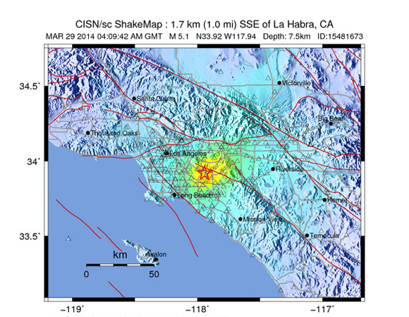 USGS ShakeMap for the Mw 5.1 earthquake 2 km east of La Habra, California. (Figure from USGS.)