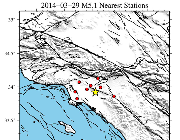 Continuous Plate Boundary Observatory GPS stations targeted for download of high-rate GPS data bracketing the March 28, 2014 Mw 5.1 earthquake 2 km east of La Habra, California. (Figure provided by Christine Puskas, UNAVCO.)