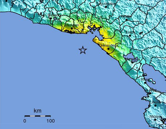 USGS ShakeMap for the 2014-10-14 Mw 7.3 earthquake 67km WSW of Jiquilillo, Nicaragua. (Figure from USGS.)