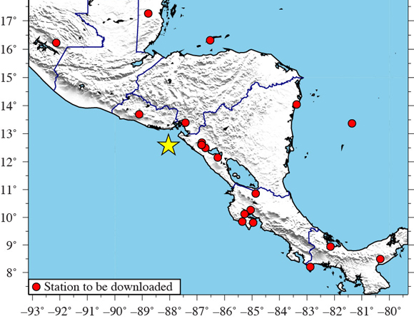 UNAVCO is downloading high-rate GPS data from a total of 25 stations (red dots) within 1,000 km of the epicenter (yellow star) of the 2014-10-14 Mw 7.3 earthquake 67km WSW of Jiquilillo, Nicaragua. One-sample-per-second (1-sps) GPS data were collected for a five-day period around the event (day of event plus two days before and after).  Five-sample-per-second (5-sps) GPS data, where available, will also be collected for a 12-hour period (± 6 hours) around the event. (Figure by Christine Puskas, UNAVCO.)
