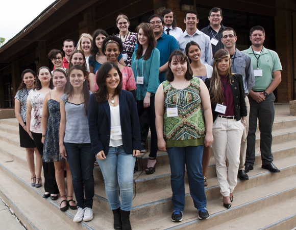 All together: 2014 RESESS, SOARS, and NEON interns at the May 18 welcome dinner. (Photo by Beth Bartel, UNAVCO.)