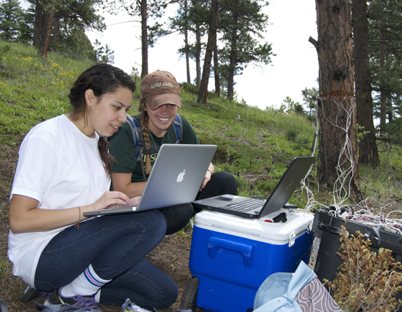 RESESS intern Jacqueline Romero and University of Colorado graduate student Rachel Feist examine electrical resistivity imaging data to examine soil moisture and tree transpiration interactions. (Photo/Aisha Morris, UNAVCO)