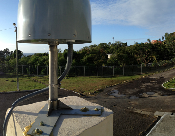 Newly installed site CN04 on the roof of the National Emergency Management Office (NEMO) on Saint Lucia. Photo by Jacob Sklar.