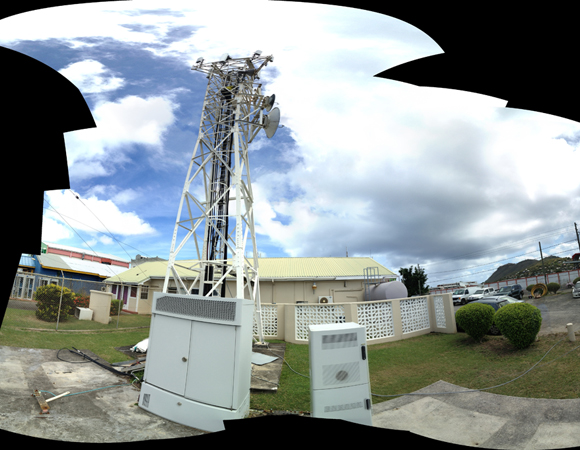 No data streams without comms. Data from site CN47 are telemetered to this tower at the Cable and Wireless building in Vieux Fort, Saint Lucia. Photo by Jacob Sklar.