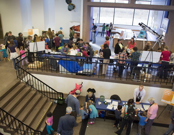 Super Science Saturday attracts hundreds of curious visitors each year. The event is organized by UCAR and is free and open to the public. Photo by Beth Bartel, UNAVCO.