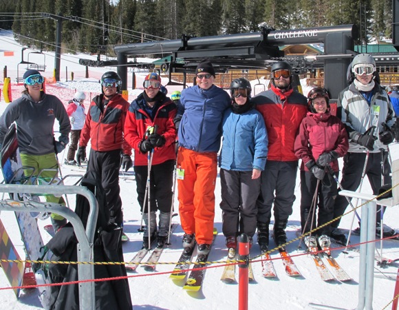 Participants in the optional UNAVCO ski day the day before the Science Workshop were rewarded with sunny skies and good company. (Photo/Linda Rowan, UNAVCO)