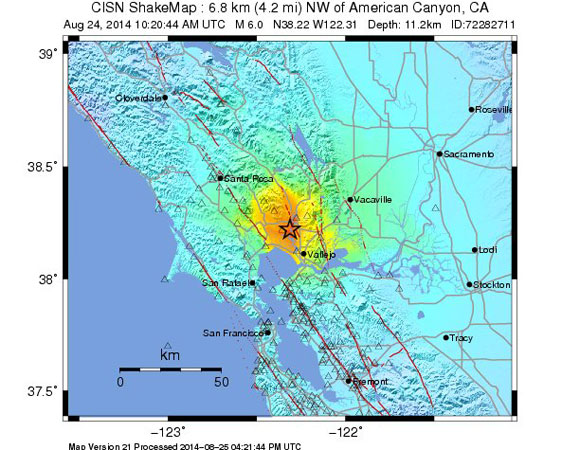 USGS ShakeMap for the Mw 6.0 South Napa Earthquake  - 6km NW of American Canyon, California. (Figure from USGS.)