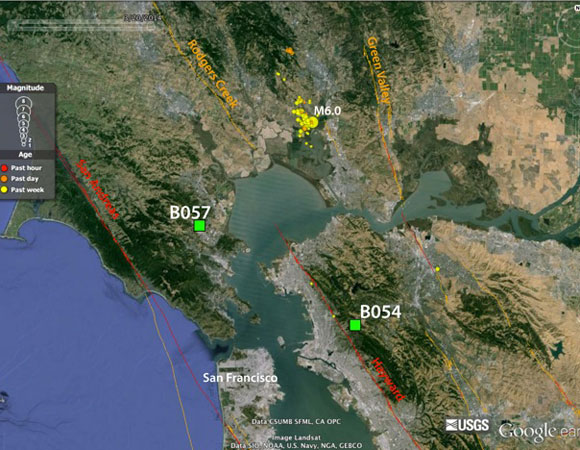 Locations of the closest Plate Boundary Observatory borehole strainmeters (green squares) in relation to the epicenter (yellow circle) of the 24 August 2014 Mw 6.0 South Napa Earthquake - 6km NW of American Canyon, California. See Figure 3 for data from borehole strainmeters. (Figure provided by Kathleen Hodgkinson, UNAVCO, Earthquake locations and fault scarps courtesy USGS. Base map courtesy Google Earth.)