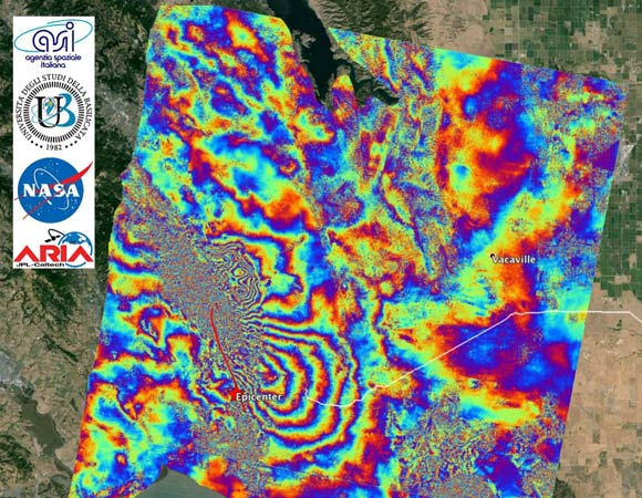 Interferometric Synthetic Aperture Radar (InSAR) map of coseismic displacement (wrapped interferogram) in the radar line-of-sight (LOS, 29 degrees from vertical and roughly west) caused by the 2014/08/24 M6.0 South Napa Earthquake, California. Derived from COSMO-SkyMed data acquired on 2014/07/26 and 2014/08/27. One color cycle represents 1.56 cm of LOS displacement. Processed by ARIA team at JPL-Caltech in collaboration with the Italian Space Agency (ASI) and University of Basilicata. The epicenter indicated with the red star is from USGS NEIC. The red line is the surface rupture trace. The white line indicates the North Bay Aqueduct. COSMO-SkyMed data (c) ASI 2014. (Figure by JPL/Caltech ARIA team in collaboration with ASI/CIDOT; base map courtesy Google Earth)