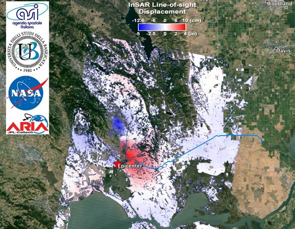 Interferometric Synthetic Aperture Radar (InSAR) map of coseismic displacement (unwrapped interferogram) in the radar line-of-sight (LOS, 29 degrees from vertical and roughly west) caused by the 2014/08/24 M6.0 South Napa Earthquake, California. Derived from COSMO-SkyMed data acquired on 2014/07/26 and 2014/08/27. Processed by ARIA team at JPL-Caltech in collaboration with the Italian Space Agency (ASI) and University of Basilicata. The epicenter indicated with the red star is from USGS NEIC. The blue line indicates the North Bay Aqueduct. COSMO-SkyMed data (c) ASI 2014. (Figure by JPL/Caltech ARIA team in collaboration with ASI/CIDOT; base map courtesy Google Earth)