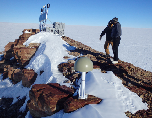GPS station CRDI Cordiner Peak in Western Antarctica. Crews travel by airplane up to four hours to maintain remote stations.