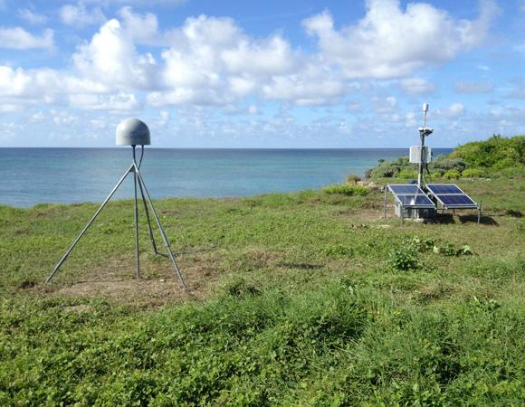 Vista of cGPS site CN18 on Swan Island, Honduras. Photo by Michael Fend, UNAVCO.
