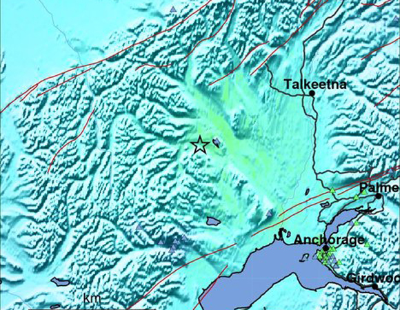 USGS ShakeMap for the 2014-08-25 Mw 6.2 Earthquake 94km WNW of Willow, Alaska. (Figure from USGS.)