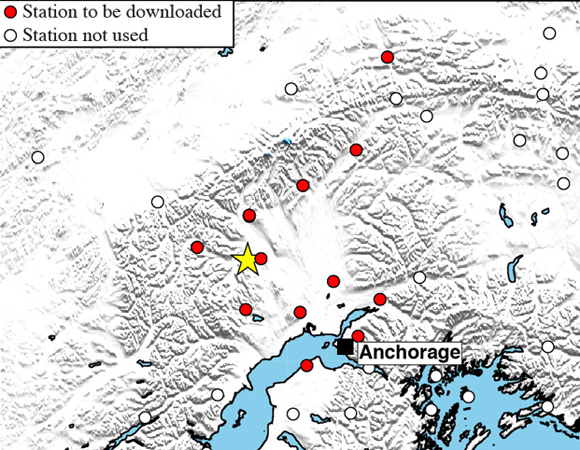 Map showing Plate Boundary Observatory continuous GPS stations near the epicenter (yellow star) of the 2014-08-25 Mw 6.2 earthquake 94km WNW of Willow, Alaska. Targeted sites for downloading of high-rate data include cGPS sites within an approximately 100 km radius of the epicenter, as well as stations near Anchorage, where shaking was felt. (Figure by Christine Puskas, UNAVCO.)