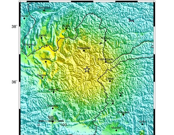 USGS ShakeMap for the 26 October 2015 Mw 7.5 Earthquake- 45km N of `Alaqahdari-ye Kiran wa Munjan, Afghanistan. (Figure from USGS.)