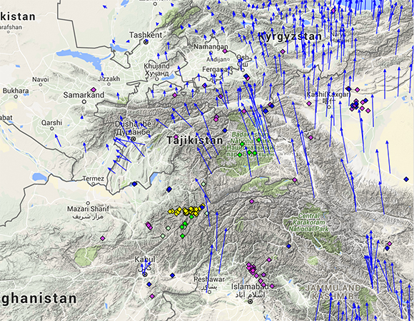 The pre-earthquake regional velocity field (blue arrows) and earthquakes magnitude 5.5 or greater for the years 1995 through 2014 (diamonds, color coded by depth) for the region around the October 26, 2015 Mw 7.5 earthquake in Afghanistan. Velocities shown here are relative to Eurasia (GNSS Data Source: GEM GSRM Eurasia). (Screenshot from the UNAVCO GPS Velocity Viewer)