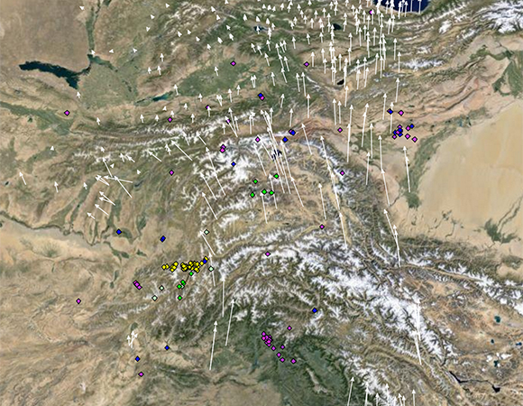 The pre-earthquake regional velocity field (white arrows) and earthquakes magnitude 5.5 or greater for the years 1995 through 2014 (diamonds, color coded by depth) for the region around the October 26, 2015 Mw 7.5 earthquake in Afghanistan. Velocities shown here are relative to Eurasia (GNSS Data Source: GEM GSRM Eurasia). (Screenshot from the UNAVCO GPS Velocity Viewer)