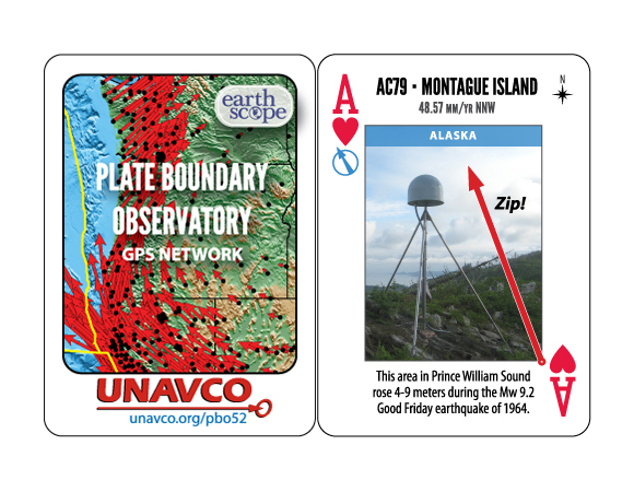 PBO-52 Plate Boundary Observatory playing cards, available at the UNAVCO booth at AGU 2015.