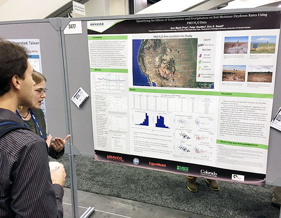 2014 and 2015 RESESS intern Ann Marie Prue presents her research at AGU 2014. More than 25 staff and interns will be presenting at AGU 2015. (Photo/Aisha Morris, UNAVCO)