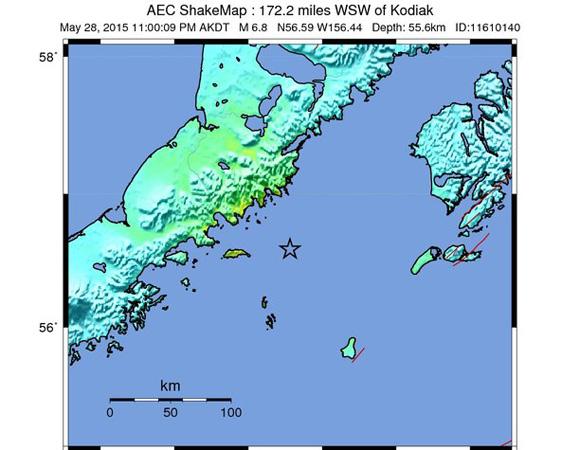 USGS ShakeMap for the Mw 6.7 earthquake 111km NNW of Chirikof Island, Alaska. (Figure from USGS.)