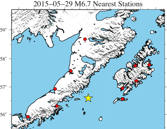Map showing Plate Boundary Observatory continuous GPS stations near the epicenter (yellow star) of the 2015-05-29 M6.7 earthquake 111km NNW of Chirikof Island, Alaska. UNAVCO is downloading high-rate GPS data from available stations within ~300 km of the epicenter. One-sample-per-second (1-sps) GPS data will be collected for a 6-day period (± 3 days) around the main shock. (Figure by Christine Puskas, UNAVCO.)