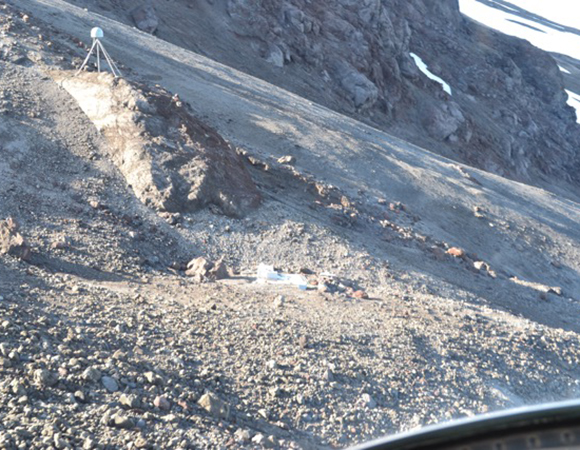 A fly-over of station AV19 revealed that the hut was mostly gone, apparently wiped out by an avalanche. The hut was rebuilt in a more protected location. (Photo/UNAVCO)