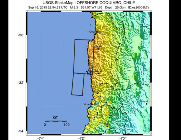 USGS ShakeMap for the 16 September 2015 Mw 8.3 earthquake - 46km W of Illapel, Chile. (Figure from USGS.)