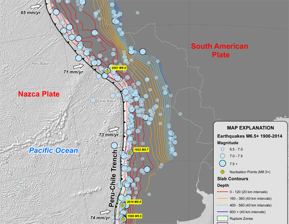 Map of tectonic summary of South America (Nazca Plate Region) (USGS, 2015.)