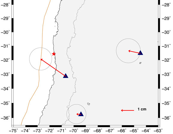 Plot of mapped static offsets from Illapel, Chile event for GPS stations SANT, MGUE, UNSA and CORD. The offsets are estimated from one pre and post earthquake estimates; static positions based on 22 hours before, 5 hours after using Ultra Rapid orbits. (Figure by ARIA, NASA JPL.)