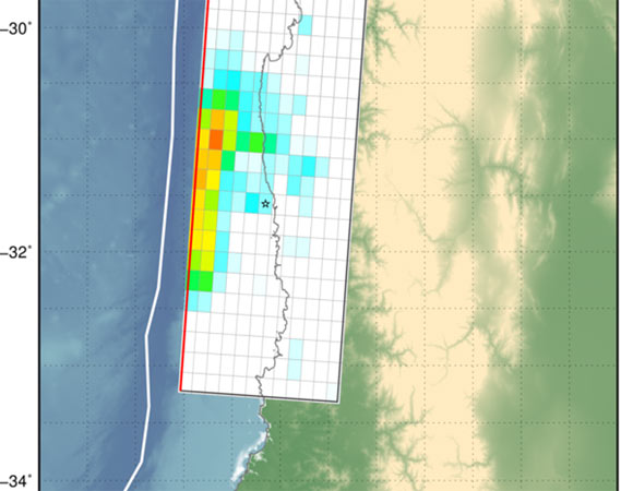 Surface projection of the slip distribution superimposed on GEBCO bathymetry. Thick white lines indicate major plate boundaries [Bird, 2003]. Gray circles, if present, are aftershock locations, sized by magnitude. (Figure by USGS.)