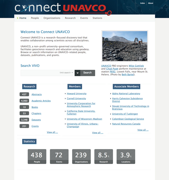 Screenshot of the homepage for Connect UNAVCO. Credit: Benjamin Gross, UNAVCO