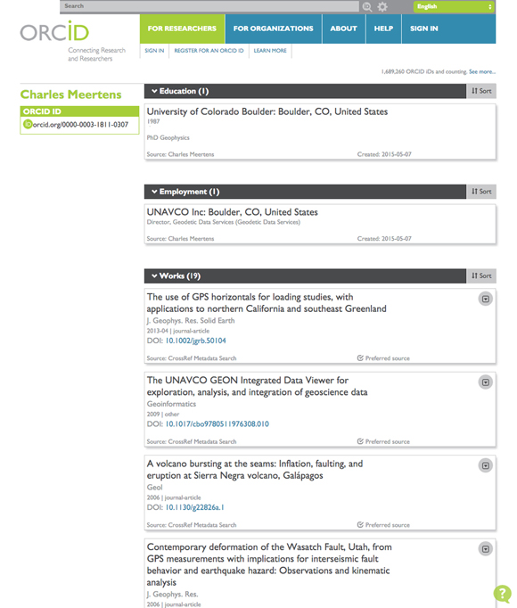 Screen shot of a person\'s ORCID profile page (linked from Connect UNAVCO). Credit: Benjamin Gross, UNAVCO