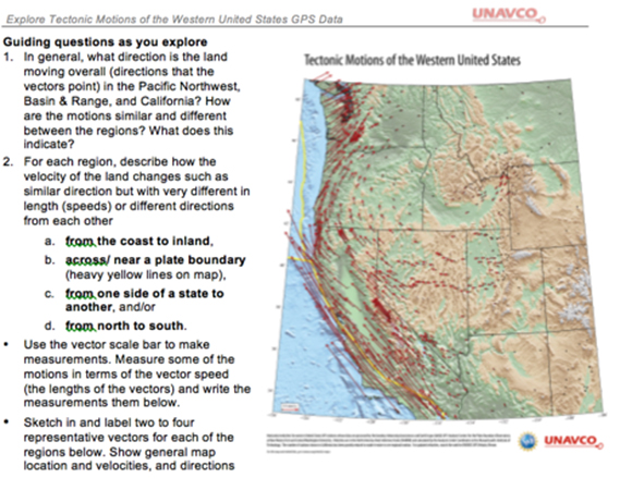 The Exploring Tectonic Motions of the Western United States exercise, built around one of UNAVCO\'s two new posters that available in print and online at unavco.org/velocity-maps.