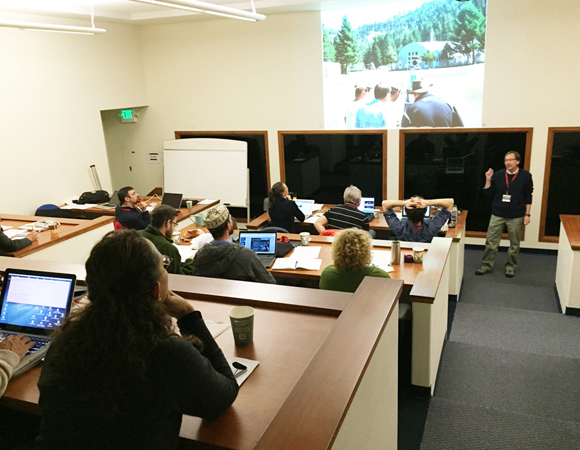 Bruce Douglas shares the use of TLS in the Indiana University field camp. (Photo by Beth Bartel, UNAVCO)