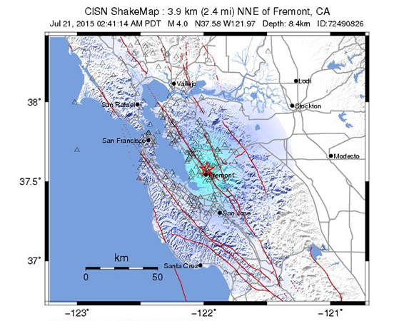 USGS ShakeMap for the Mw 4.0 Earthquake 3km NNE of Fremont, California. (Figure from USGS.)