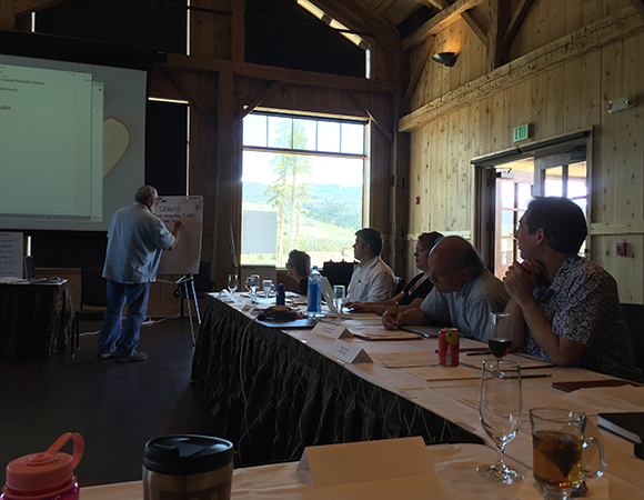 UNAVCO Strategic Planning June 8-9, 2015; Devil\'s Thumb Ranch, Tabernash, Colorado. Tony Lowry, Chuck Meertens, Peter LaFemina, Meghan Miller, and Jamie Magliocca participate in planning activities led by Roy Savoian.  (Photo/Donna Charlevoix, UNAVCO)