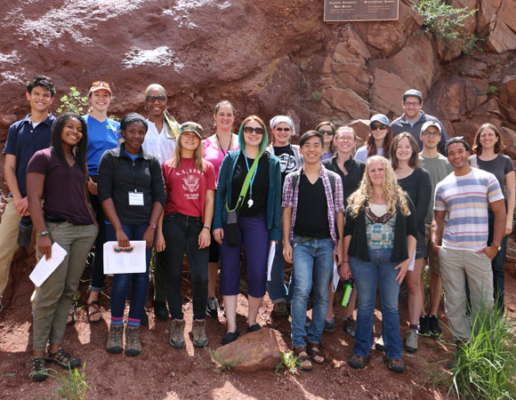 Welcome UNAVCO interns! Interns from all three internship programs participated in a half-day field trip to Red Rocks Amphitheater, the Morrison Natural History Museum, and Dinosaur Ridge. (Photo/Benjamin Gross, UNAVCO)