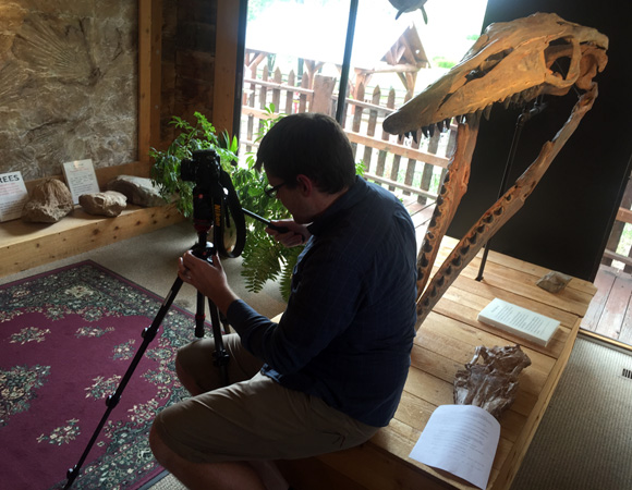 USIP intern Andrew Bayles prepares to record an interview for a video series on geoscience careers. (Photo/Beth Bartel, UNAVCO.)