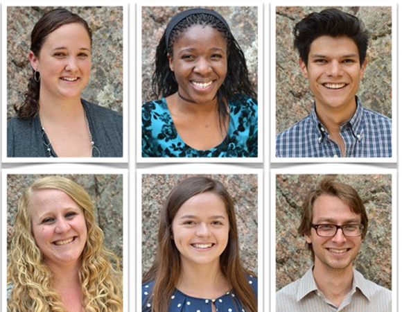 2015 RESESS interns from top left to bottom right: Molly Anderson, Boise State University; Crystal Burgess, Alfred University; Enrique Chon, University of Arizona; Stacy Hendricks, Rocky Mountain College; Deanna Metivier, North Carolina State University; Garth Ornelas, Southwestern University; Ann Marie Prue, University of Wisconsin-River Falls; Anny Sainvil, Smith College; Brandt Scott, Union College. (Photos by Beth Bartel, UNAVCO.)