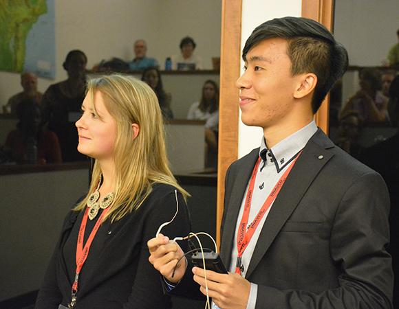 Geo-Launchpad interns Nicole Ingraham and Alexis Ho Liu present their summer\'s work during UNAVCO\'s intern colloquium, July 29 2015, Boulder, Colorado. (Photo/Beth Bartel, UNAVCO).