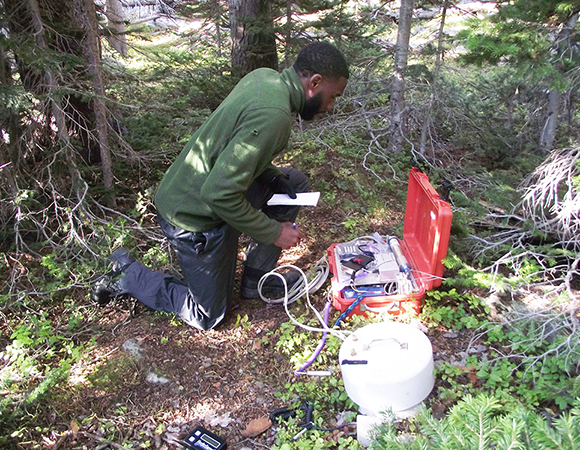 RESESS alumnus Jordan Allen measures soil respiration using a Li-cor LI-820 in one of his research plots in Rocky Mountain National Park during the summer of 2014. (Photo/Marlon Oguma)